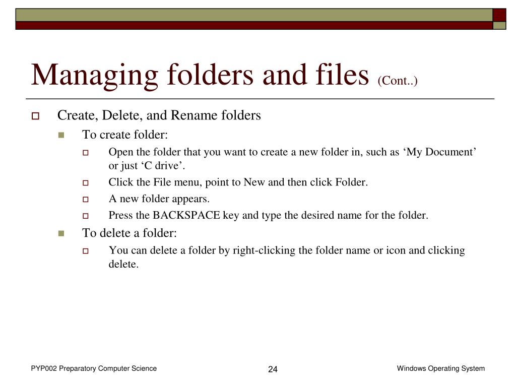 Managing folders and files