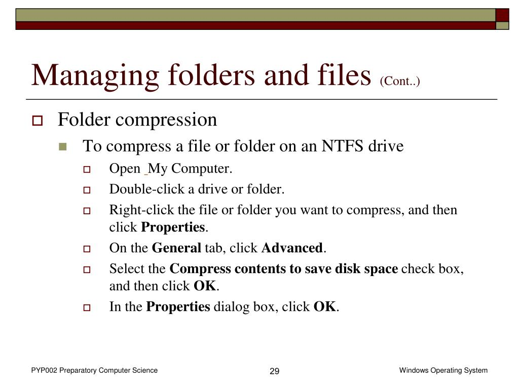 Managing folders and files