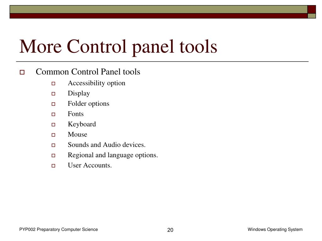 More Control panel tools