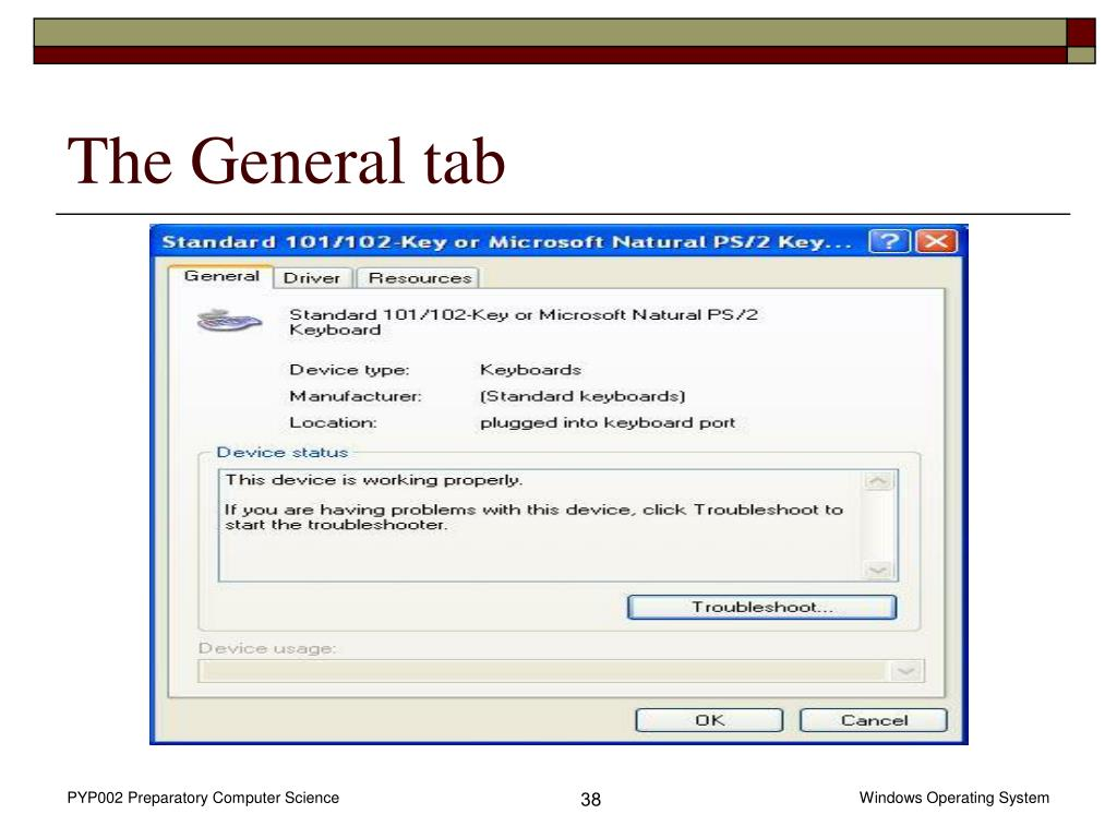 The General tab