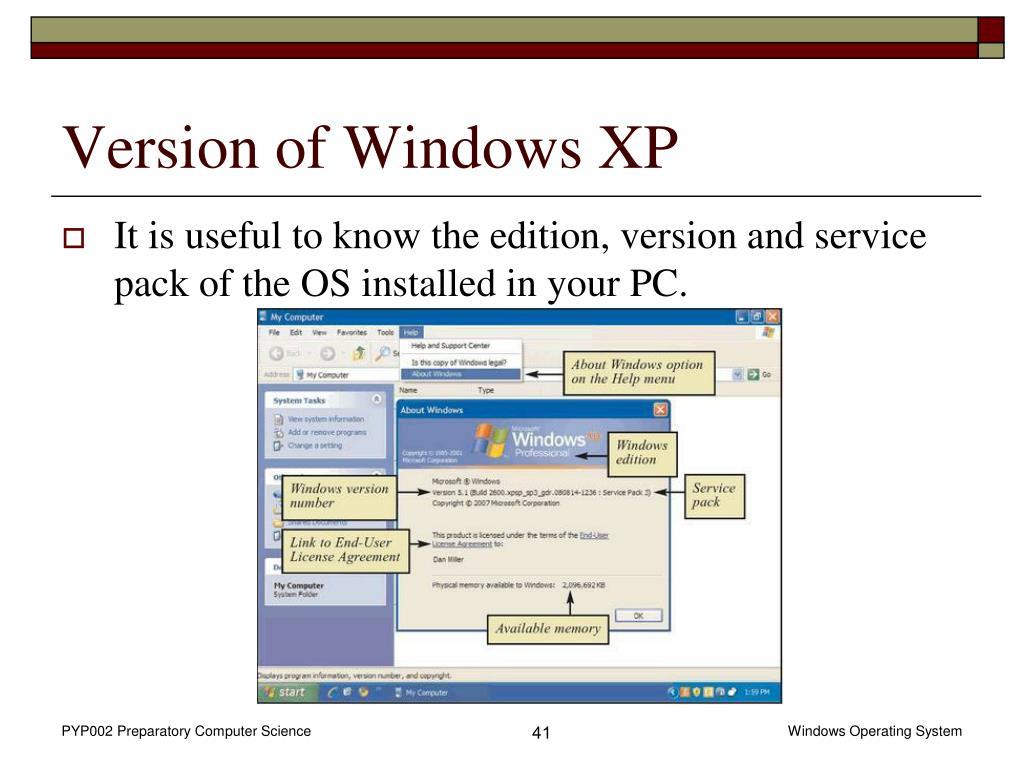 Version of Windows XP