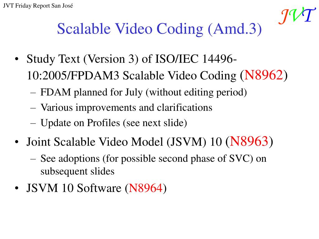Scalable Video Coding (Amd.3)