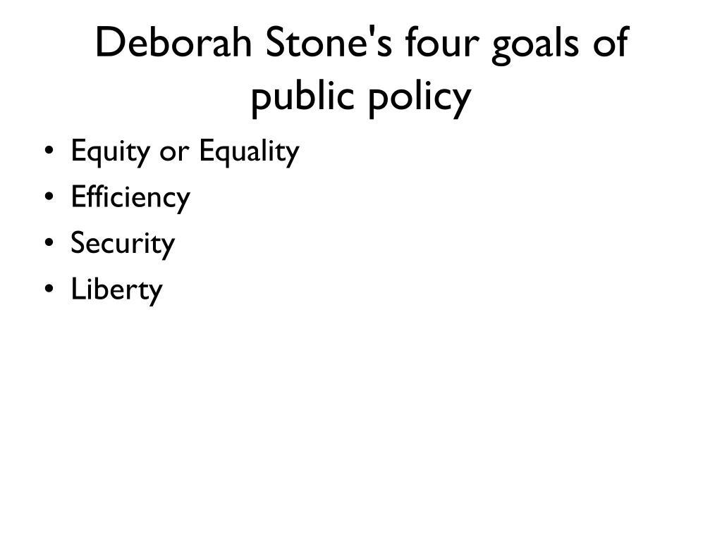 Deborah Stone's four goals of public policy