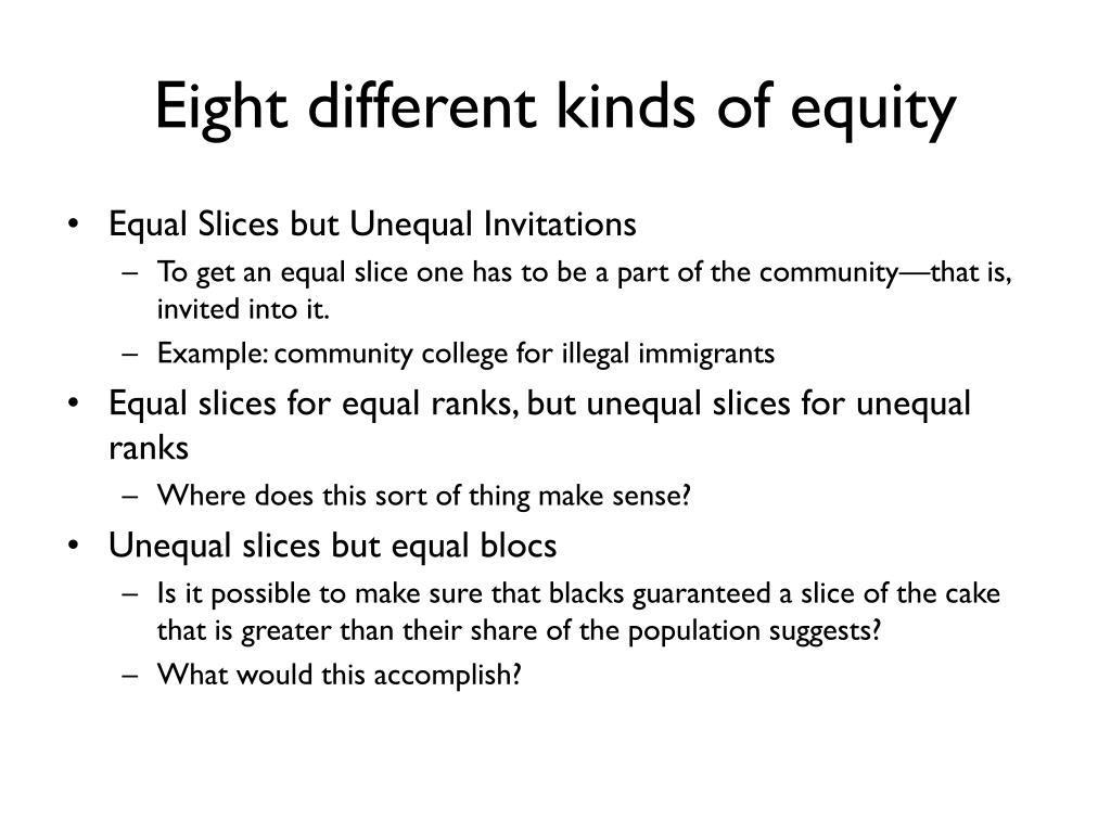 Eight different kinds of equity