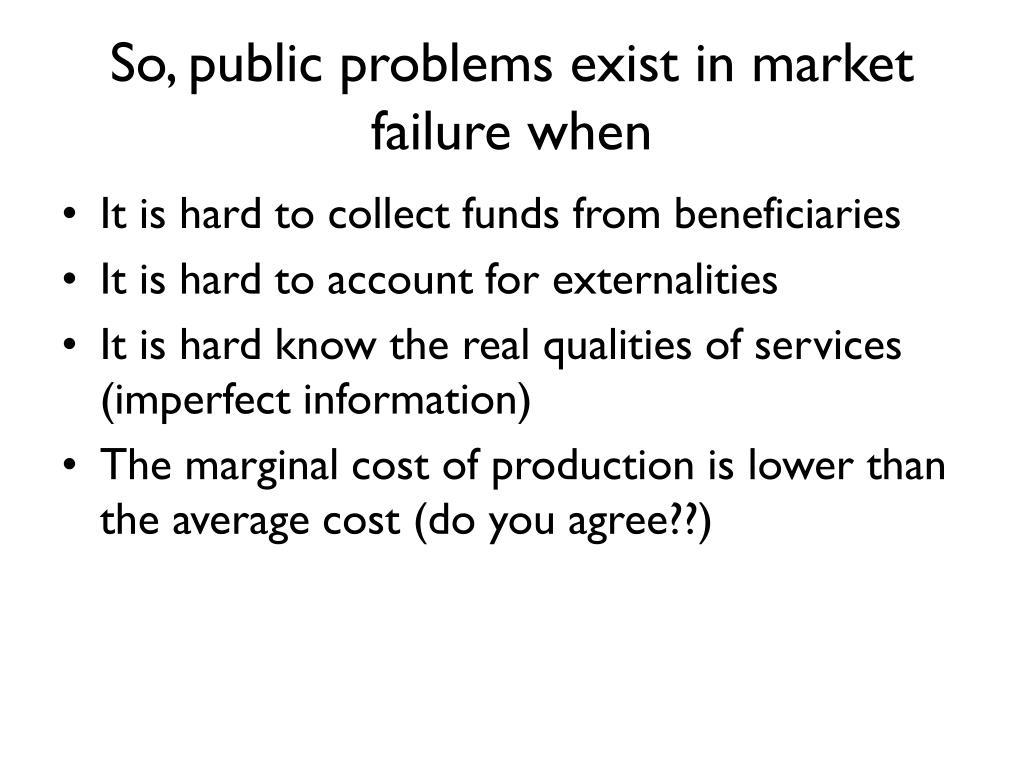 So, public problems exist in market failure when