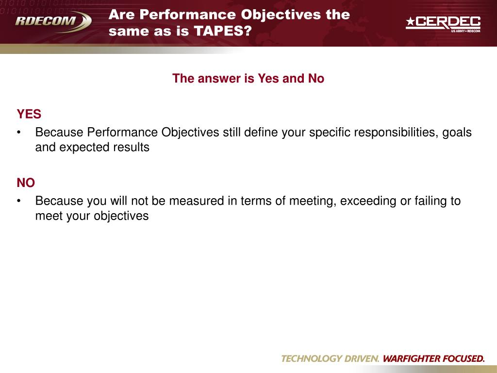 Are Performance Objectives the same as is TAPES?