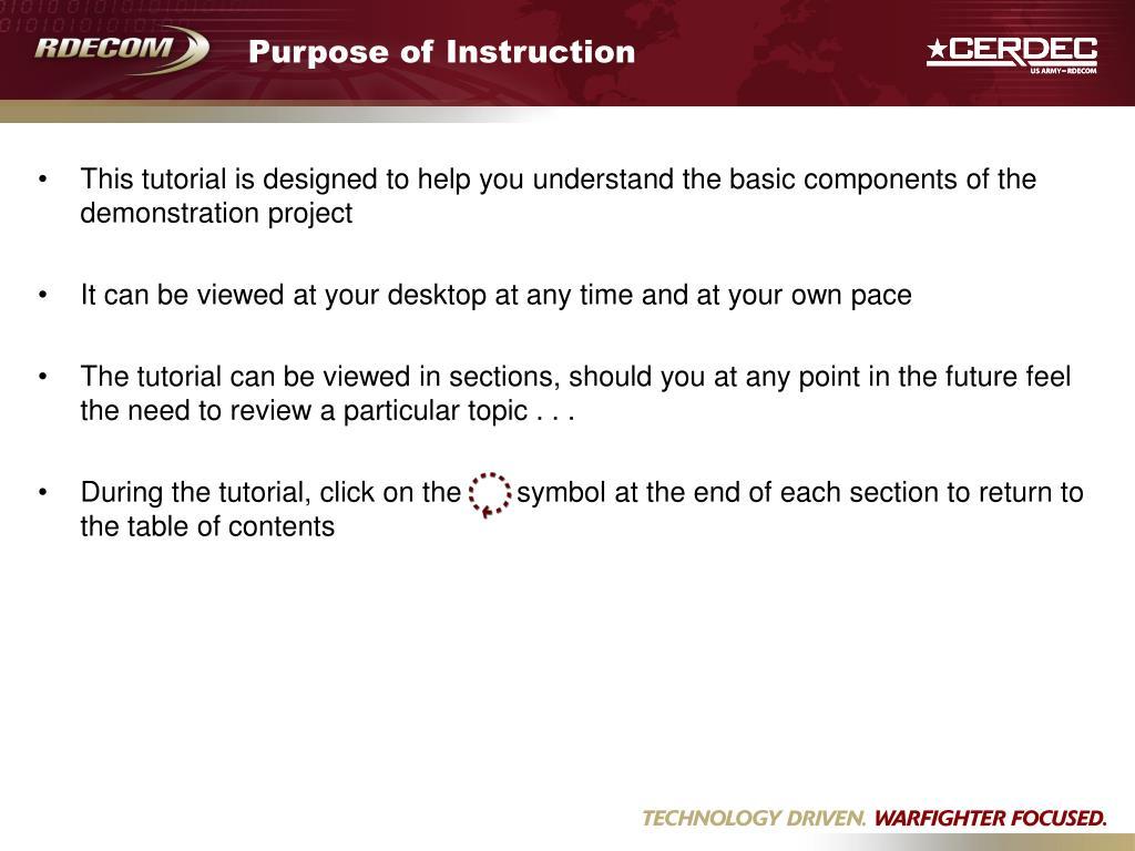 Purpose of Instruction
