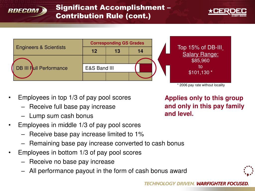 Significant Accomplishment – Contribution Rule (cont.)