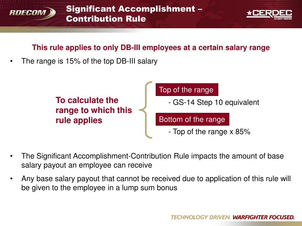 Significant Accomplishment – Contribution Rule