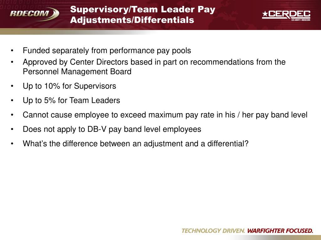 Supervisory/Team Leader Pay Adjustments/Differentials