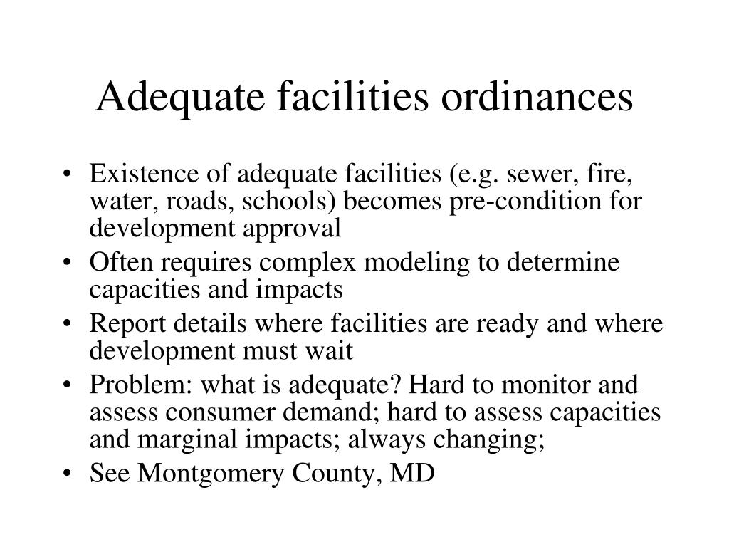 Adequate facilities ordinances
