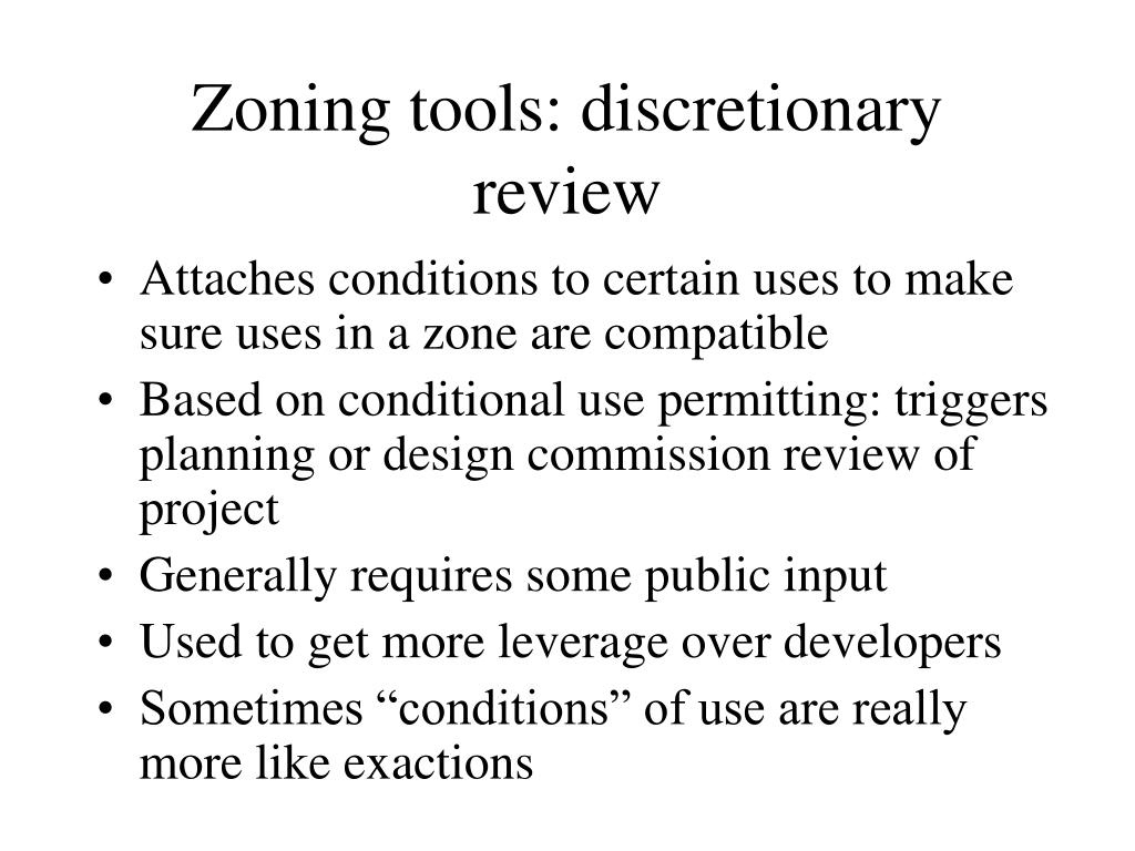 Zoning tools: discretionary review