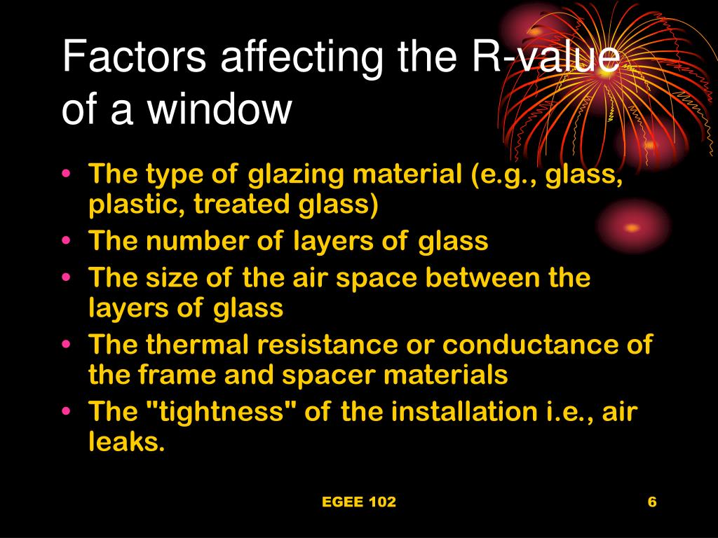 Factors affecting the R-value of a window