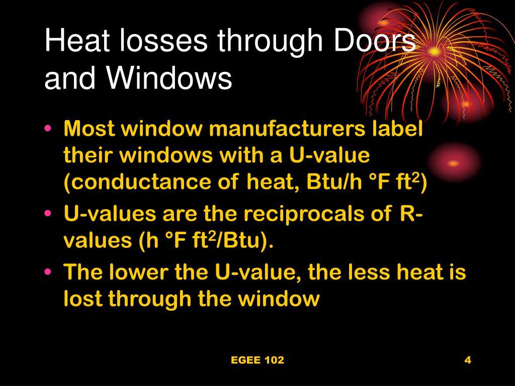 Heat losses through Doors and Windows