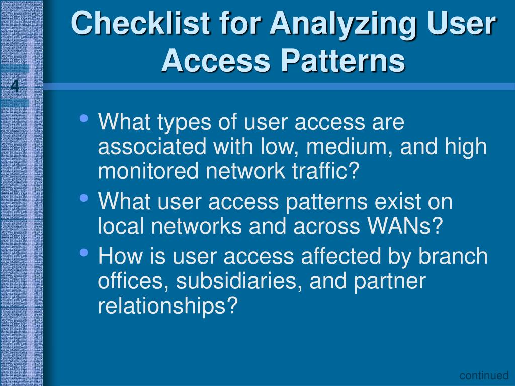 Checklist for Analyzing User Access Patterns