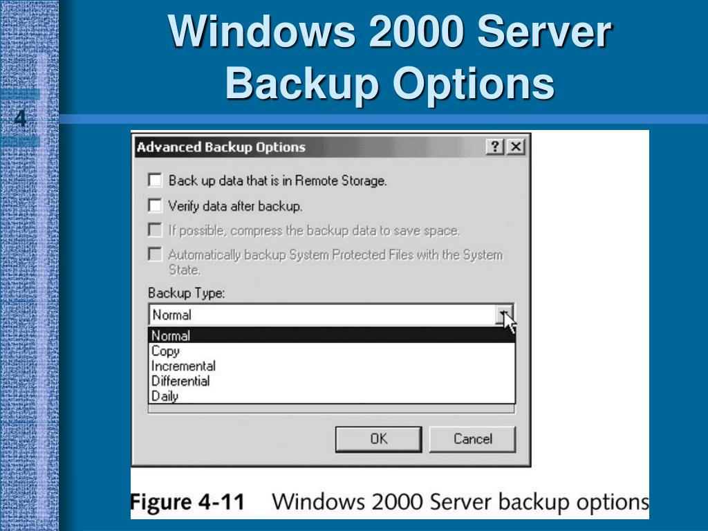 Windows 2000 Server Backup Options