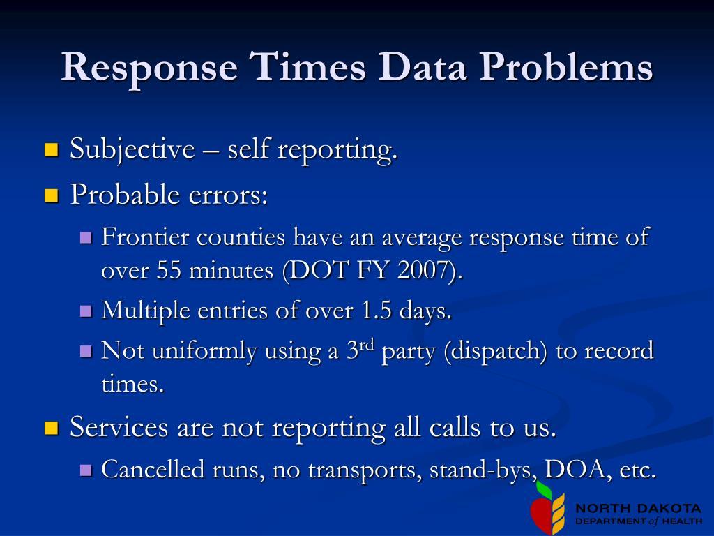 Response Times Data Problems