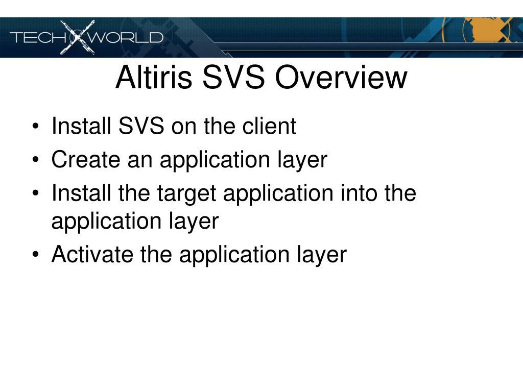 Altiris SVS Overview