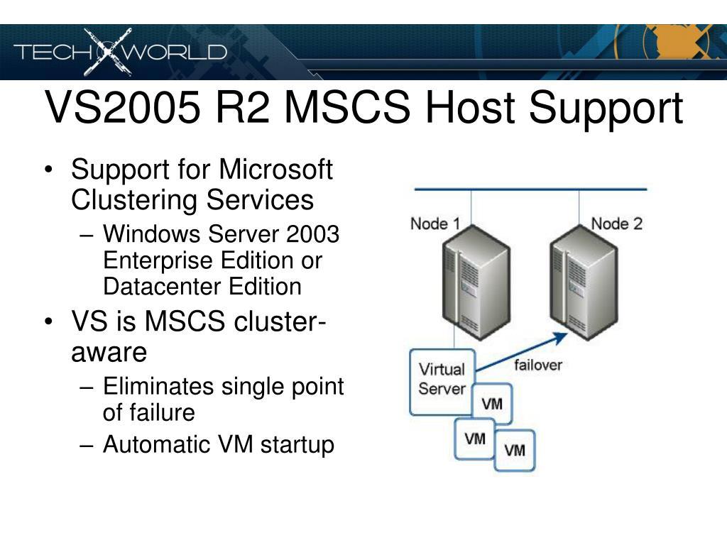 VS2005 R2 MSCS Host Support