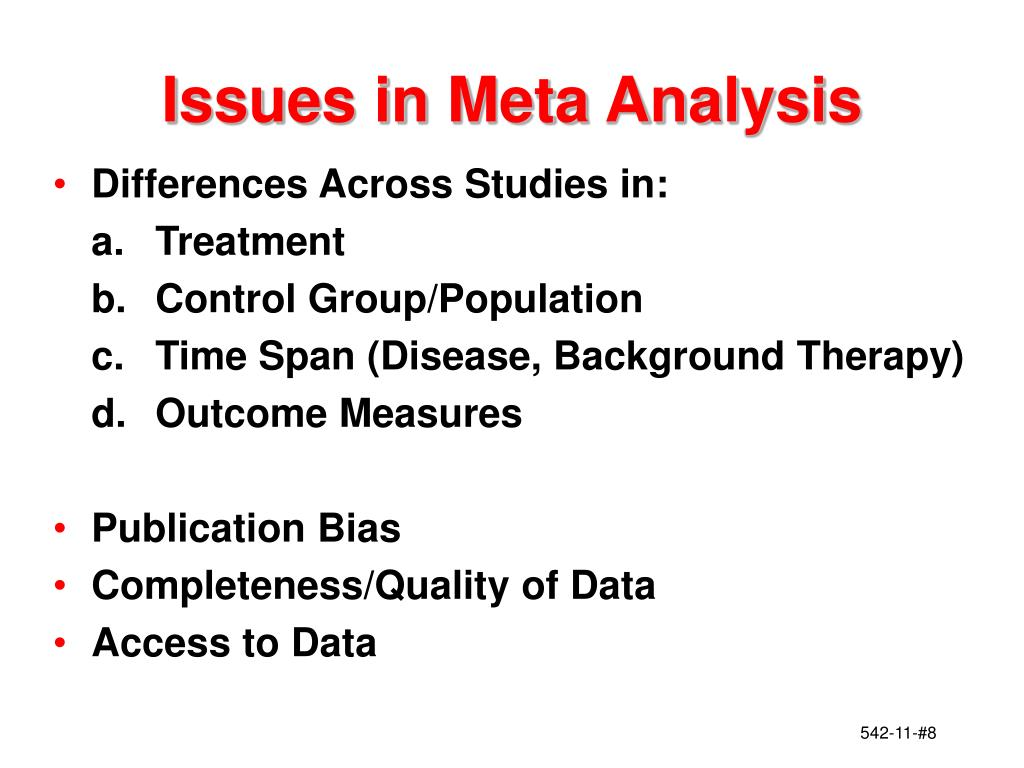 Issues in Meta Analysis
