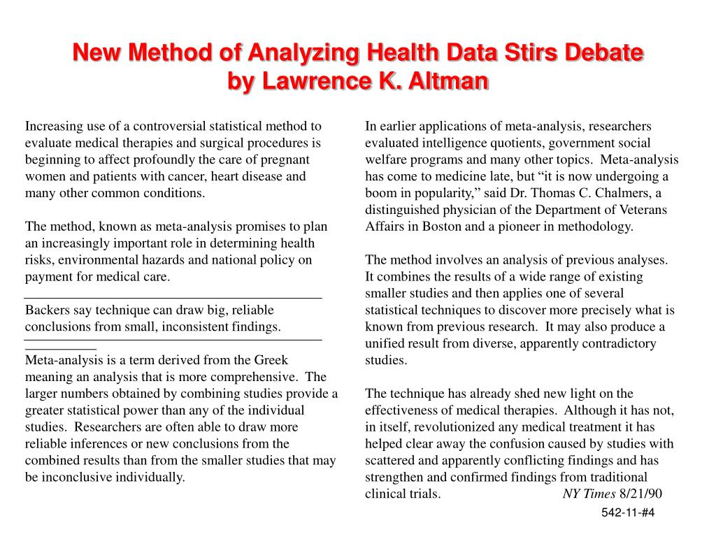 New Method of Analyzing Health Data Stirs Debate