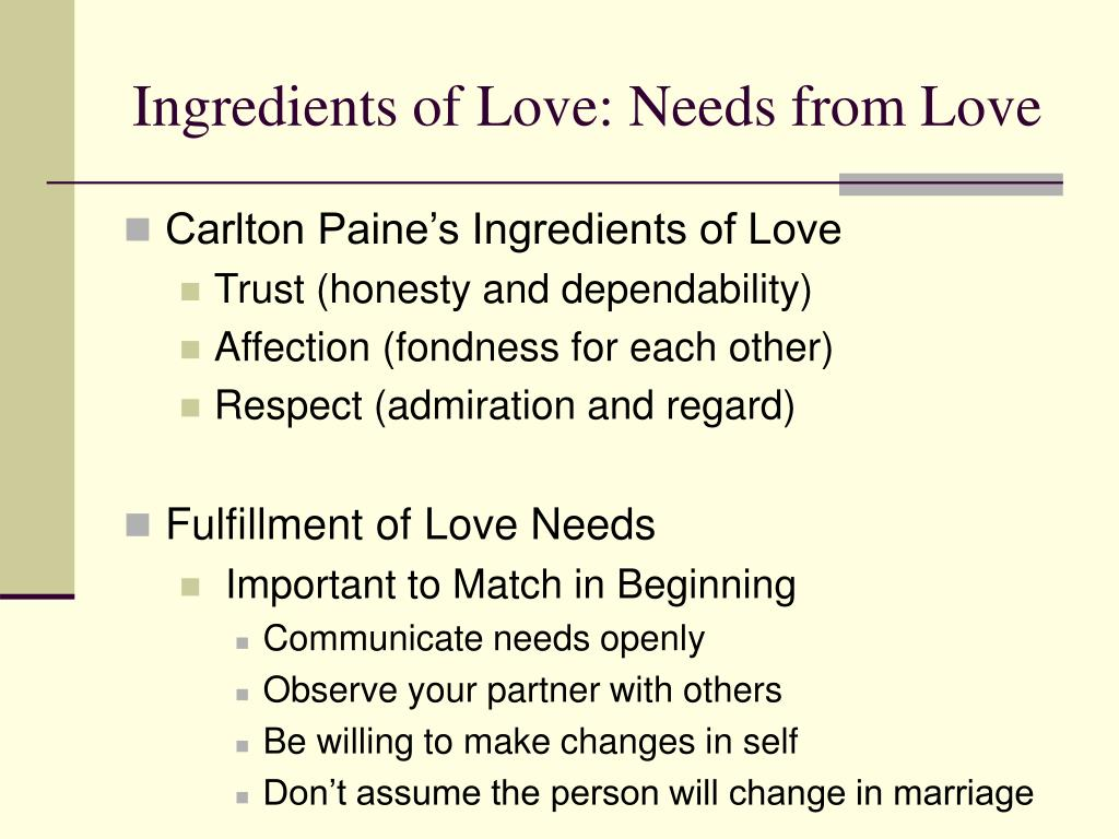 Ingredients of Love: Needs from Love