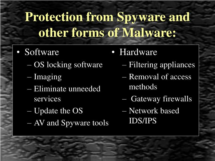 Protection from spyware and other forms of malware