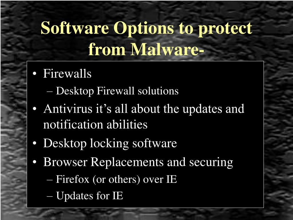 Software Options to protect from Malware-