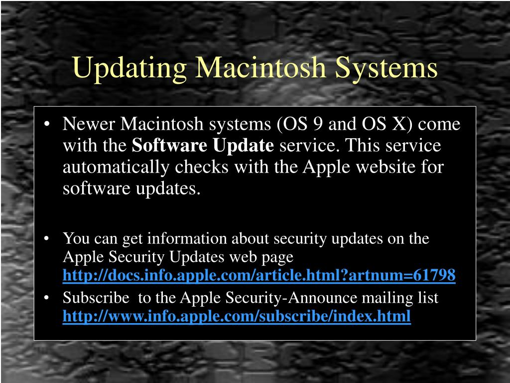 Updating Macintosh Systems