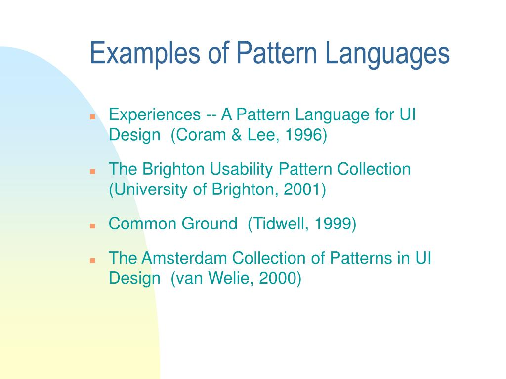 Examples of Pattern Languages