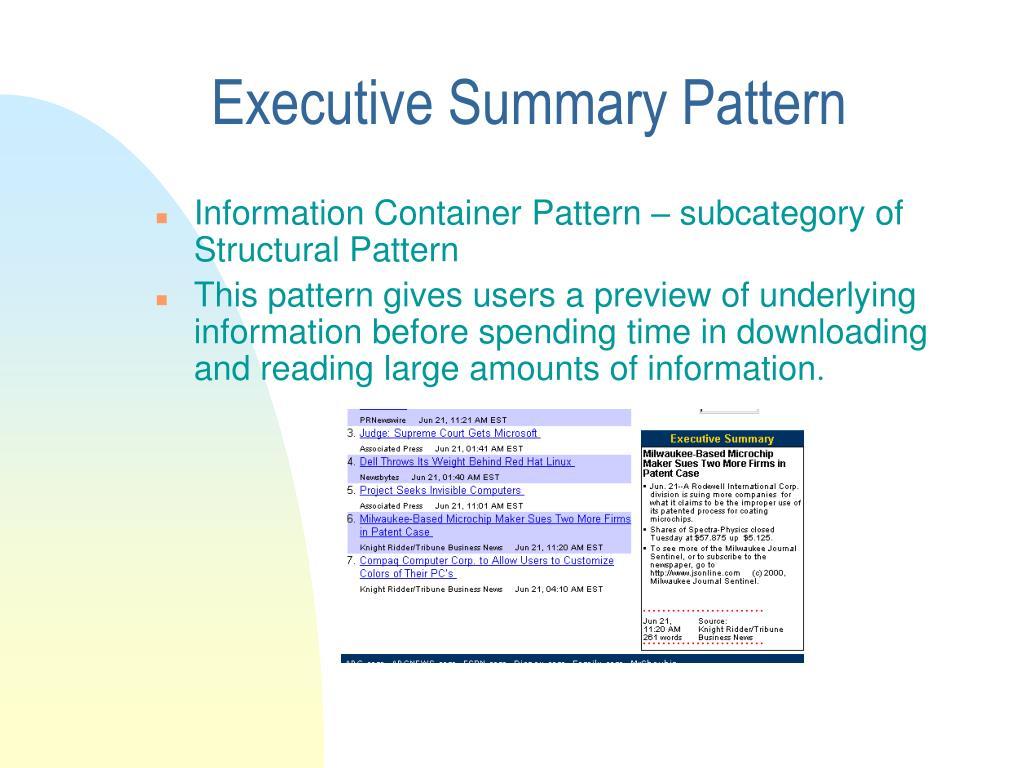Executive Summary Pattern