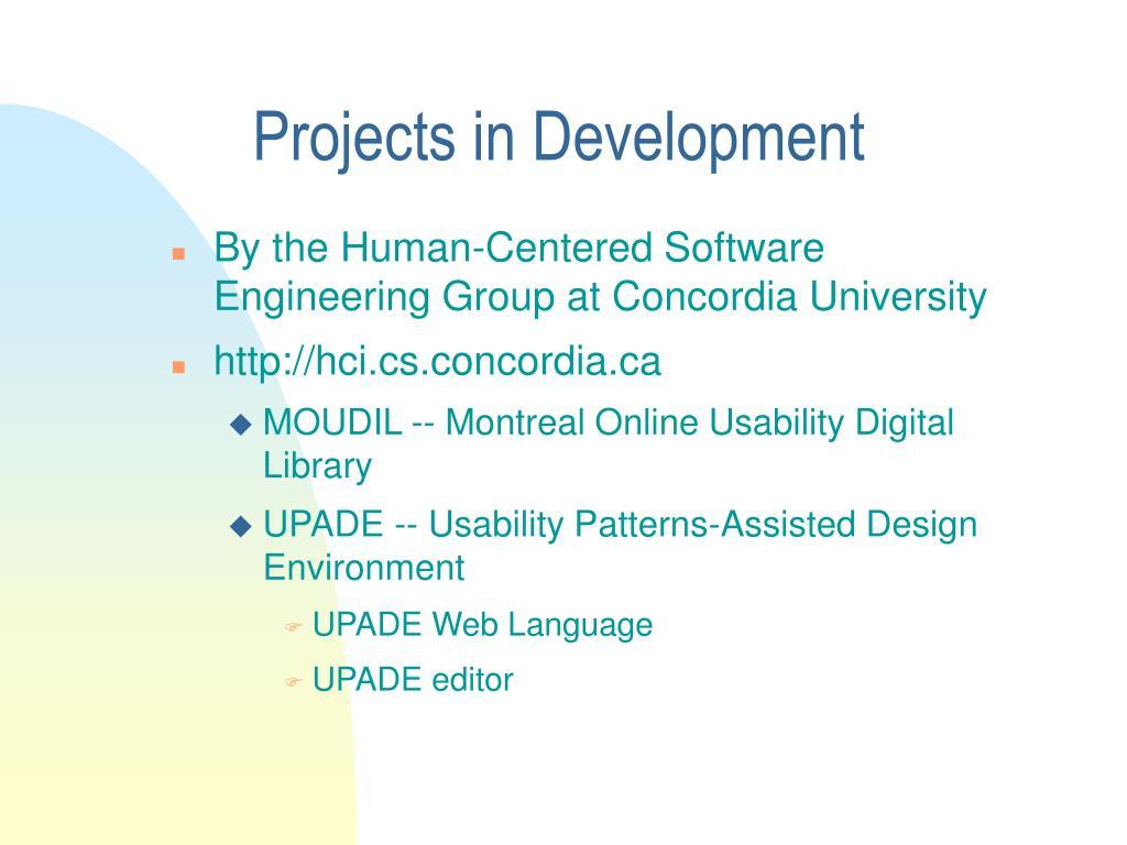 Projects in Development