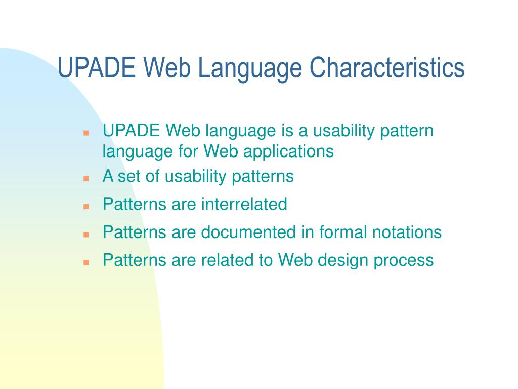 UPADE Web Language Characteristics
