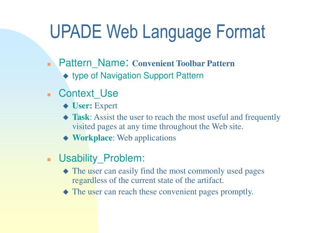 UPADE Web Language Format