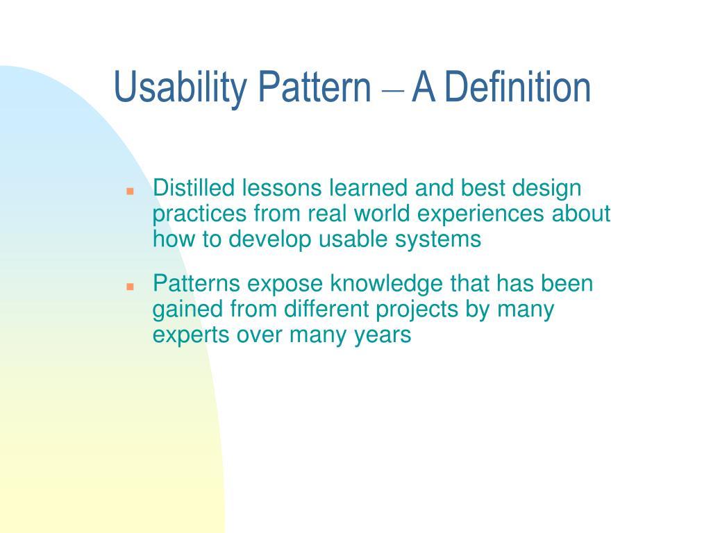 Usability Pattern