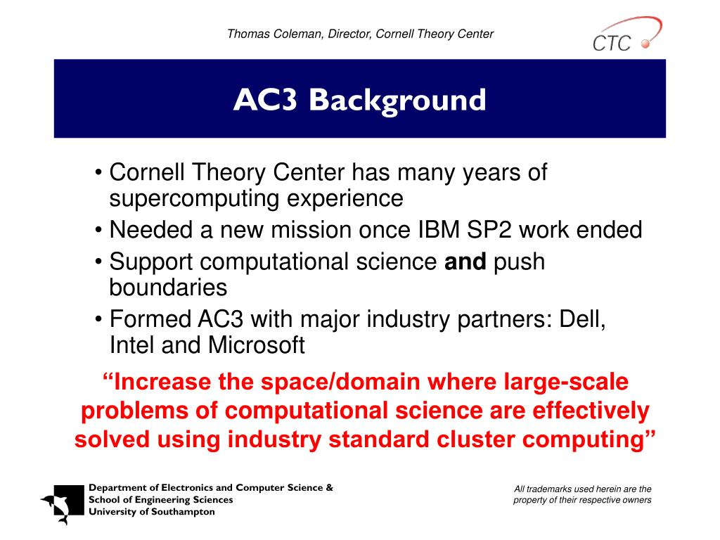 Thomas Coleman, Director, Cornell Theory Center