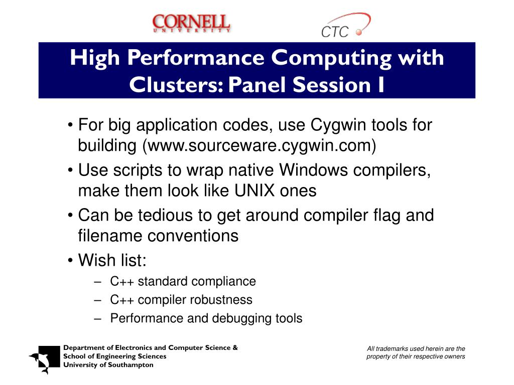 High Performance Computing with Clusters: Panel Session I