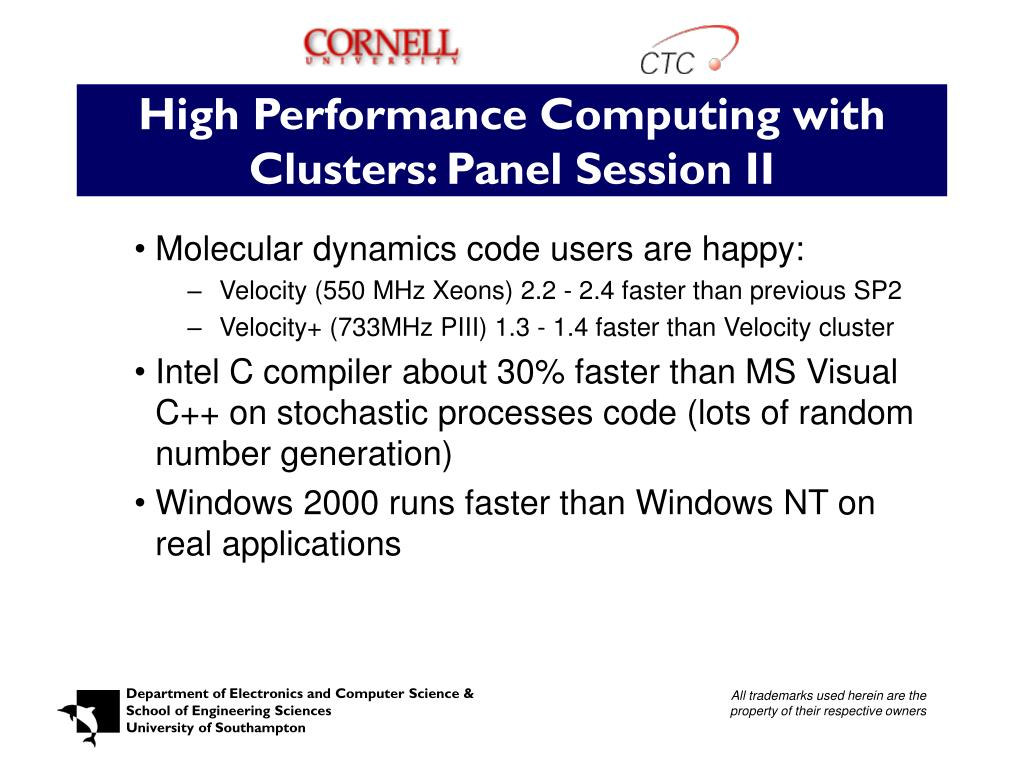 High Performance Computing with Clusters: Panel Session II