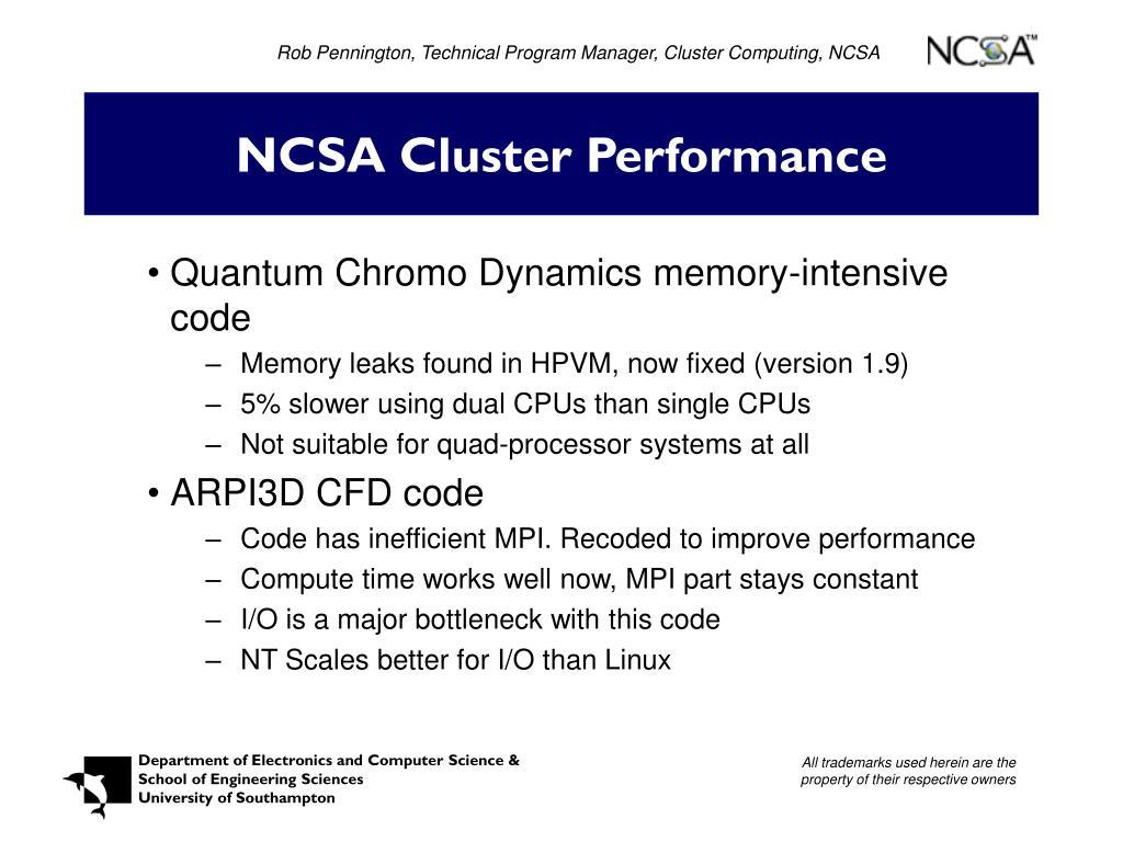 Rob Pennington, Technical Program Manager, Cluster Computing, NCSA