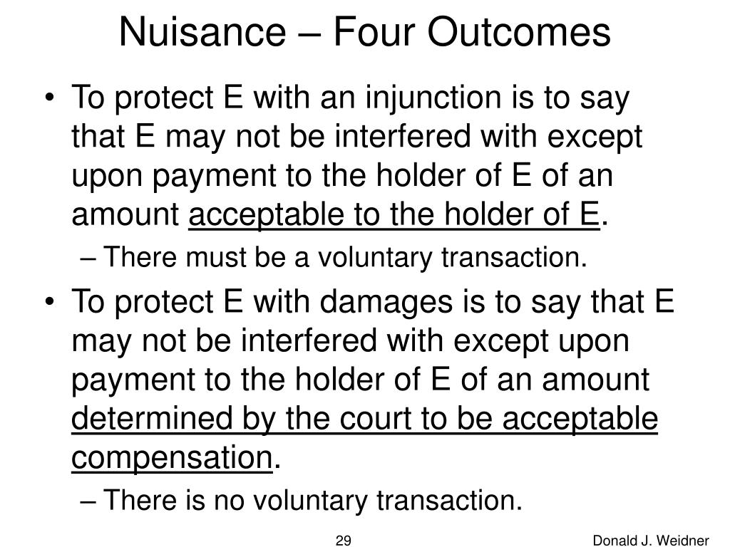 Nuisance – Four Outcomes