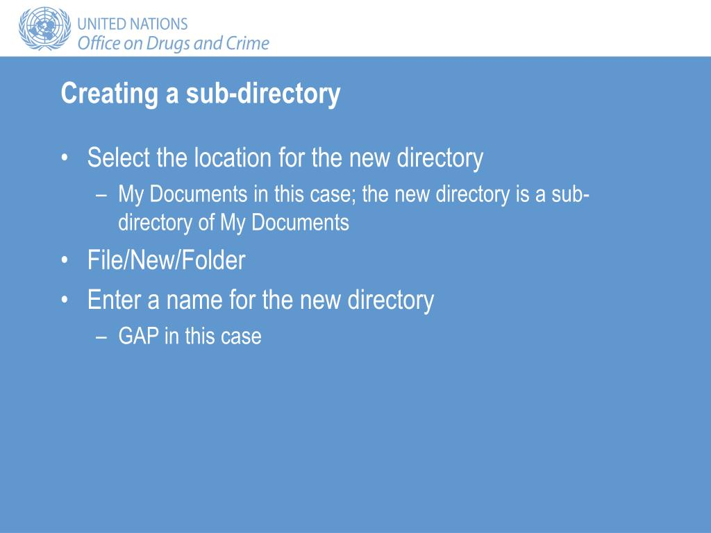 Creating a sub-directory