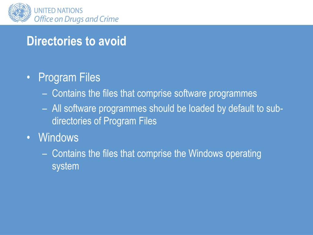 Directories to avoid