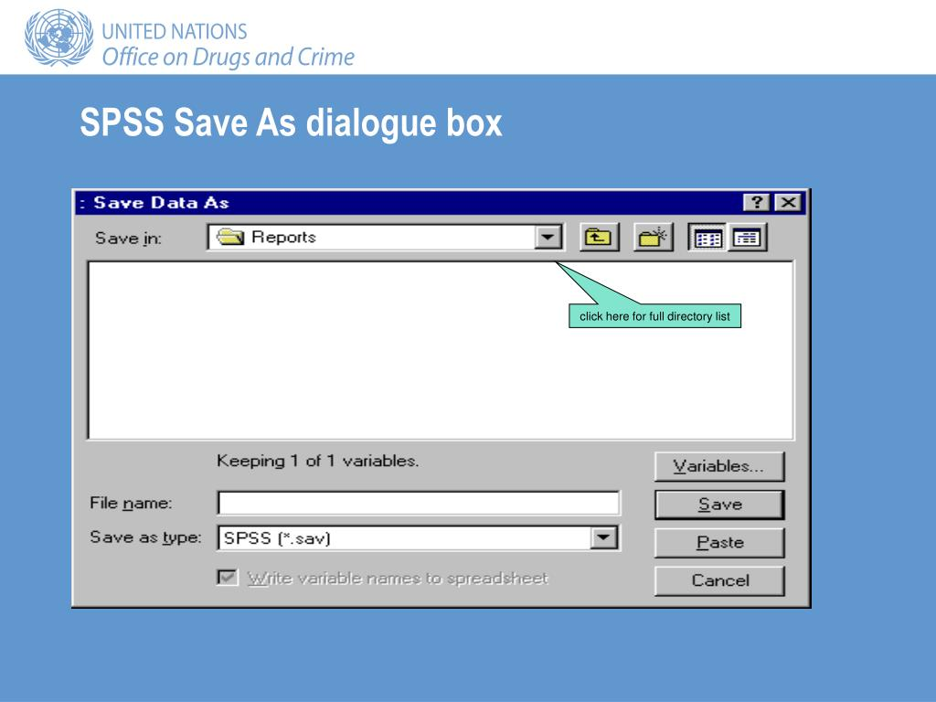 SPSS Save As dialogue box