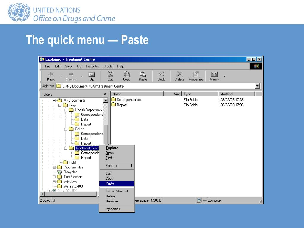 The quick menu — Paste