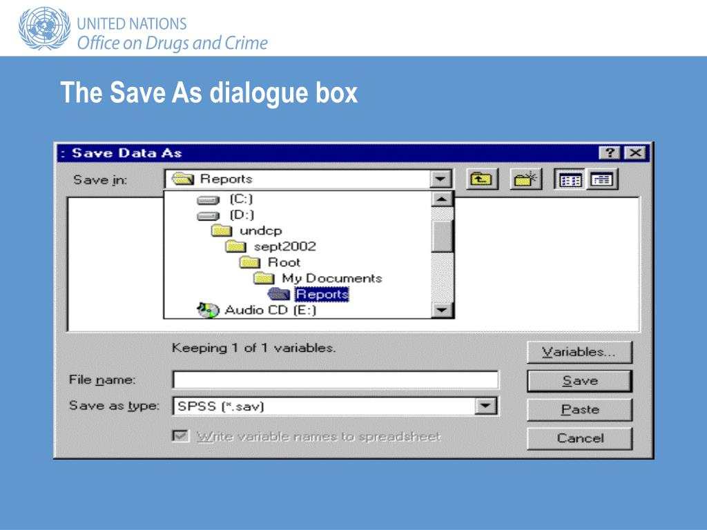 The Save As dialogue box