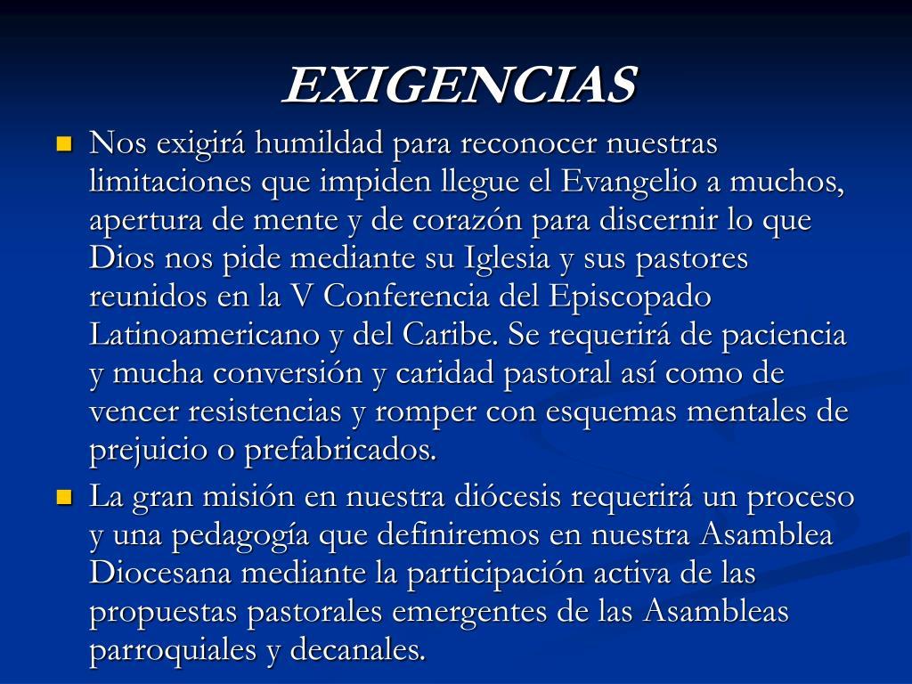 EXIGENCIAS