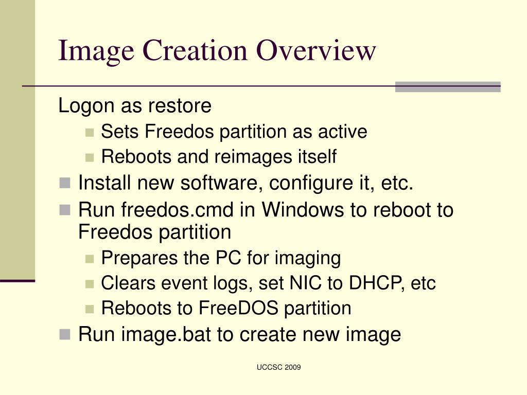 Image Creation Overview