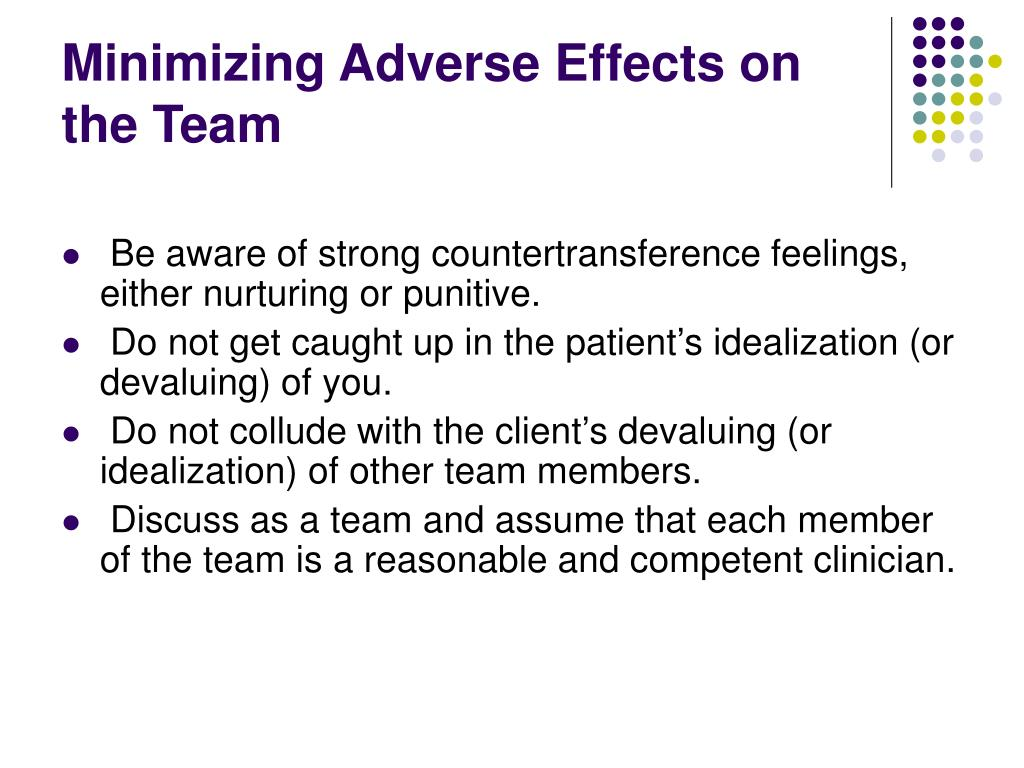 Minimizing Adverse Effects on the Team