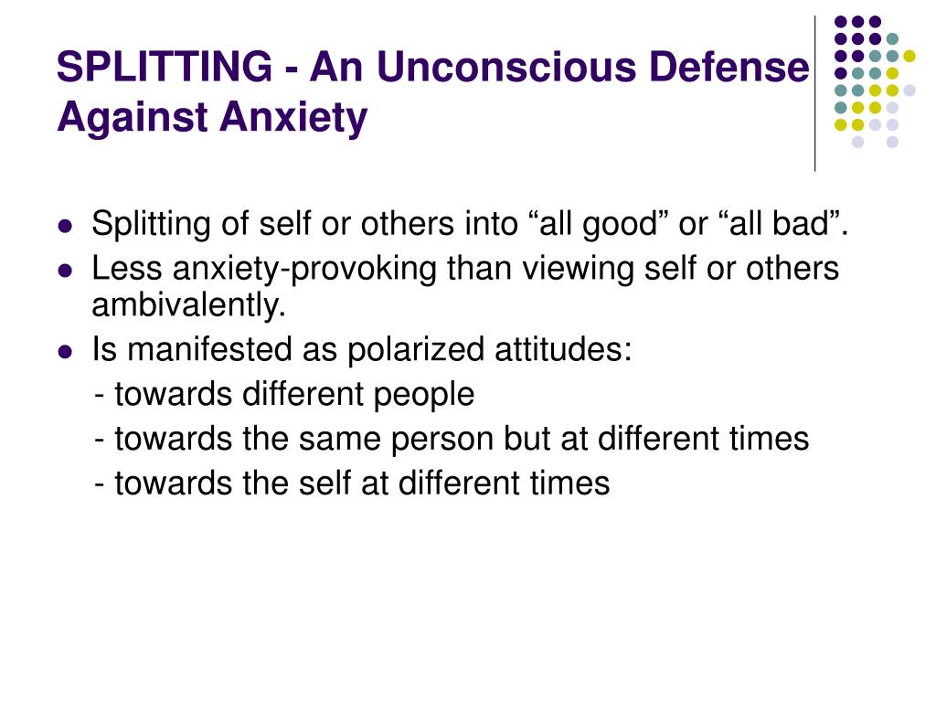 SPLITTING - An Unconscious Defense Against Anxiety