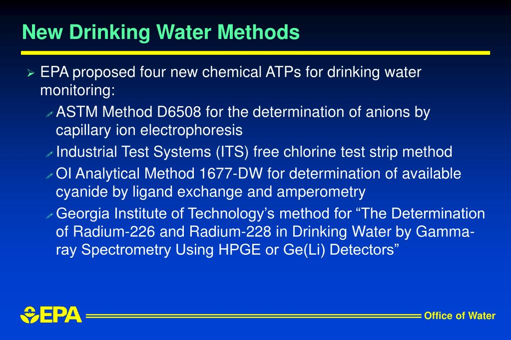 New Drinking Water Methods